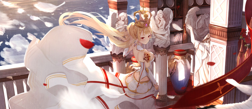 1girl absurdres angel_statue bare_shoulders blonde_hair breasts butt_crack column crown detached_sleeves feathers highres large_breasts light_smile long_hair low-cut original pillar red_eyes skirt skirt_hold skirt_lift solo vase wind wind_lift youko_(930921)