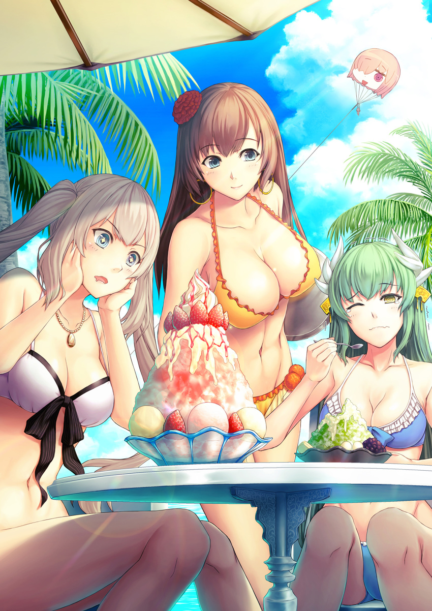 +_+ 3girls arms_behind_back bangs bikini blue_bikini blue_eyes blush breasts brown_hair character_doll cleavage closed_mouth clouds cloudy_sky collarbone day drooling eyebrows_visible_through_hair fate/grand_order fate_(series) food fruit green_hair grey_hair hair_over_one_eye highres horns ice_cream jewelry kite kiyohime_(fate/grand_order) kiyohime_(swimsuit_lancer)_(fate) large_breasts long_hair long_legs marie_antoinette_(fate/grand_order) marie_antoinette_(swimsuit_caster)_(fate) mata_hari_(fate/grand_order) medium_breasts multiple_girls necklace one_eye_closed open_mouth orange_bikini outdoors palm_tree riyo_(lyomsnpmp)_(style) shaved_ice shielder_(fate/grand_order) sitting sky smile strawberry summer sundae swimsuit table tree twintails umbrella violet_eyes whipped_cream white_bikini yellow_eyes yumemizuki