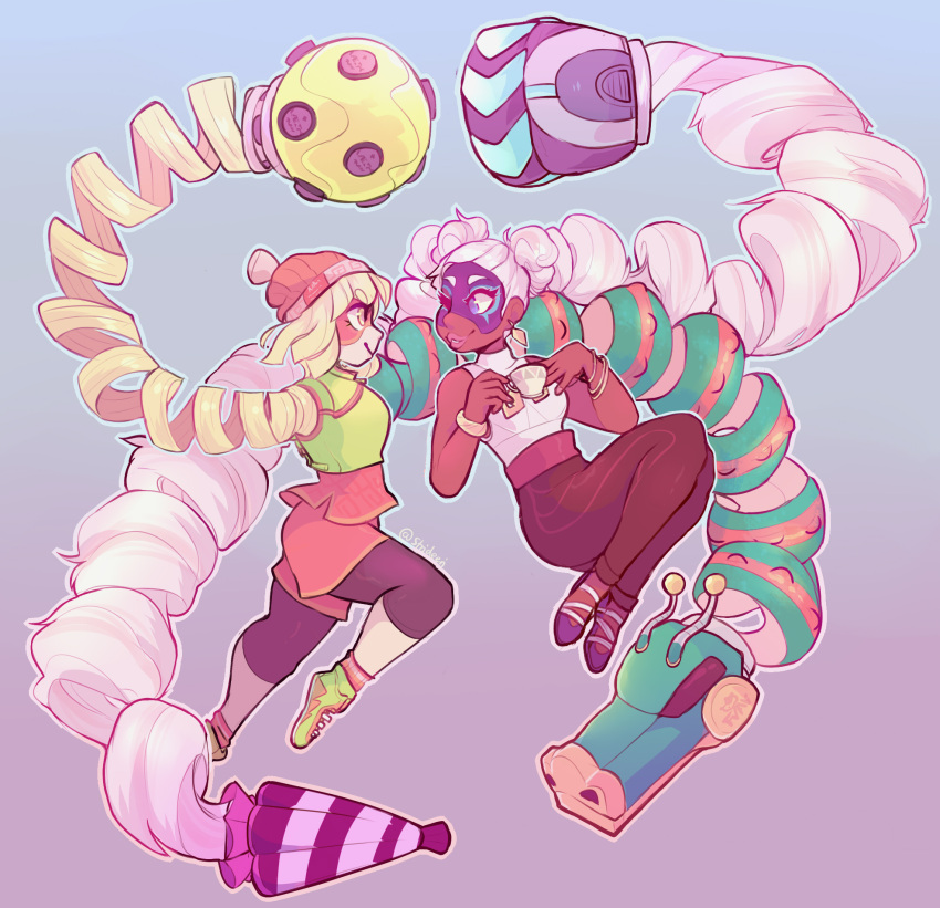 2girls arms_(game) ass bare_shoulders beanie bike_shorts blonde_hair boxing_gloves breasts chinese_clothes dark_skin domino_mask dragon_(arms) drill_hair earrings facepaint food green_eyes hair_ribbon hat highres jewelry leggings legwear_under_shorts lips long_hair mask min_min_(arms) multiple_girls noodles pants pink_hair ribbon short_hair shorts smile twin_drills twintails twintelle_(arms) very_long_hair
