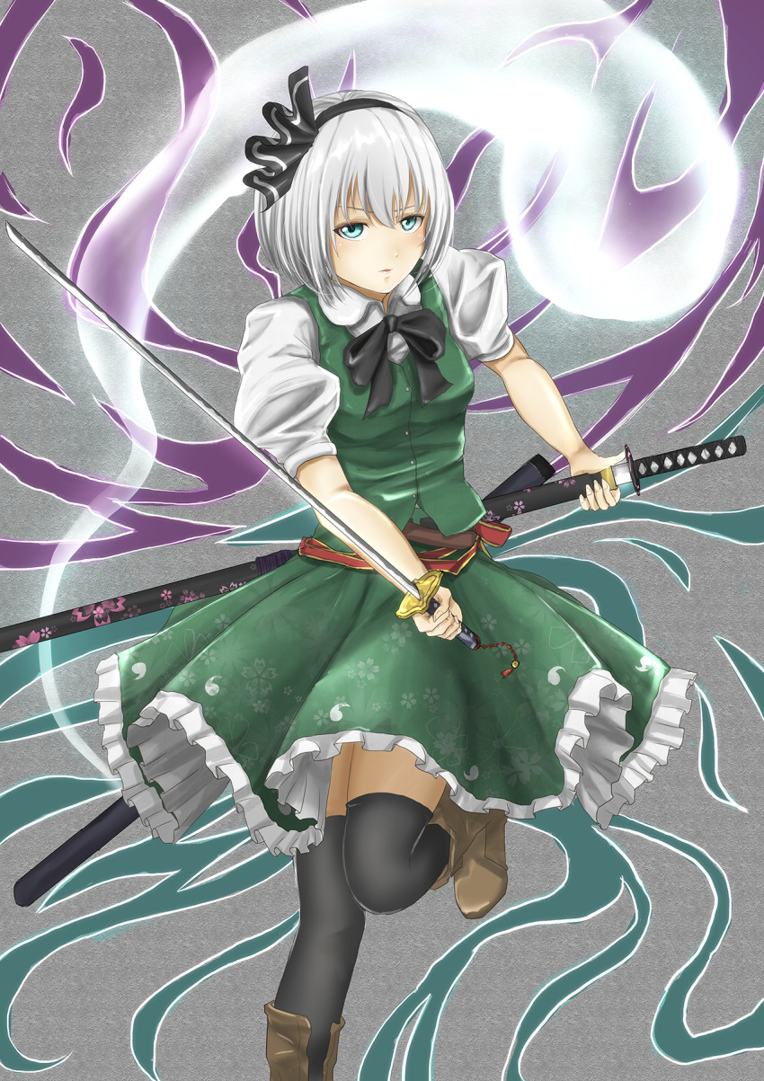 1girl black_legwear blue_eyes blush hairband highres holding holding_sheath holding_sword holding_weapon k_ryo konpaku_youmu looking_at_viewer parted_lips perfect_cherry_blossom sheath sheathed silver_hair sketch solo sword thigh-highs touhou weapon