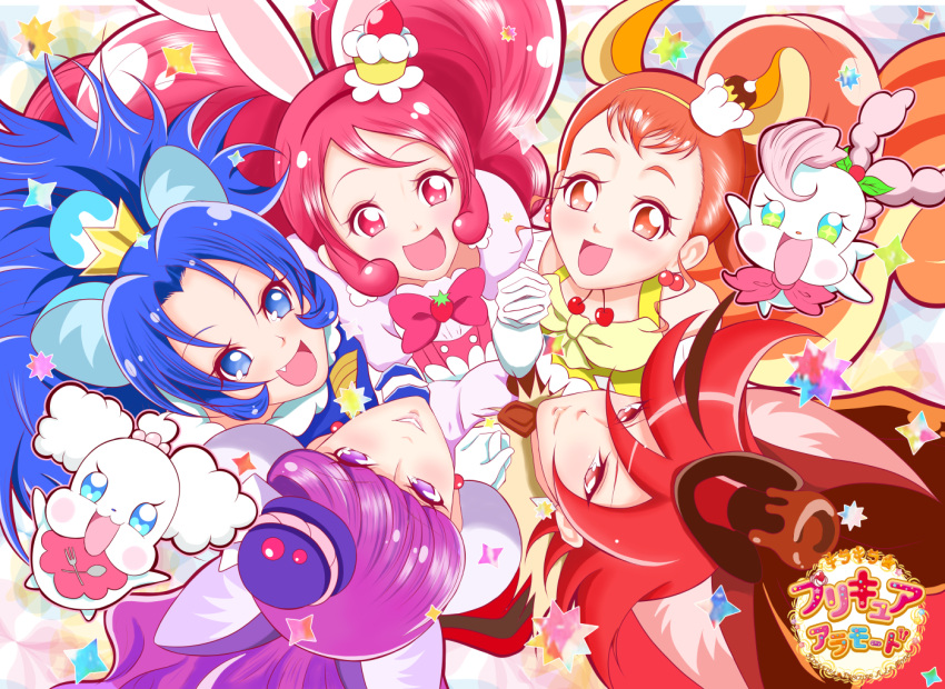 5girls :d animal_ears arisugawa_himari bangs blue_eyes blue_hair bow brown_eyes brown_hair cake_hair_ornament cat_ears circle_formation copyright_name creature cure_chocolat cure_custard cure_gelato cure_macaron cure_whip dog_ears earrings extra_ears food_themed_hair_ornament from_above gloves hair_ornament hairband hand_holding jewelry kenjou_akira kirakira_precure_a_la_mode kirarin_(precure) kotozume_yukari lion_ears long_hair looking_at_viewer macaron_hair_ornament magical_girl multicolored_hair multiple_girls open_mouth parted_bangs pekorin_(precure) pink_bow pink_eyes pink_hair ponytail precure purple_hair rabbit_ears red_eyes red_hairband redhead sawamura_yasuaki short_hair smile squirrel_ears squirrel_tail streaked_hair swept_bangs tail tategami_aoi twintails two-tone_hair usami_ichika violet_eyes white_gloves