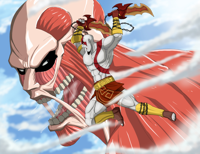 bald battle crossover god_of_war highres kratos loincloth scar shingeki_no_kyojin sword tattoo titan_(shingeki_no_kyojin) weapon white_skin