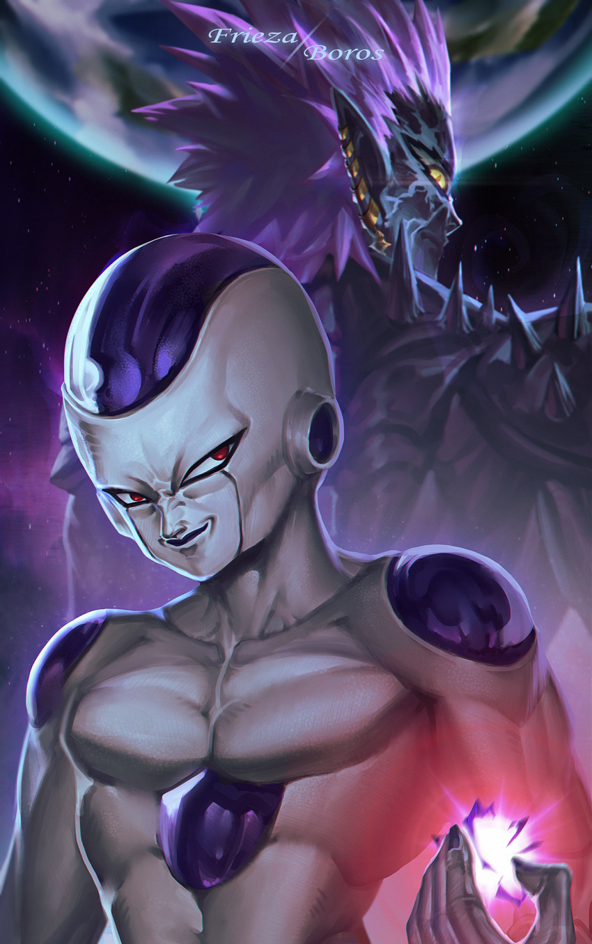 2boys alien back-to-back bald black_skin cabalfan character_name closed_mouth collarbone crossover cyclops dragon_ball dragonball_z earrings earth energy evil_smile frieza hand_up height_difference highres jewelry long_hair looking_at_viewer looking_back lord_boros male_focus multicolored multicolored_skin multiple_boys muscle one-eyed one-punch_man planet pointy_ears purple_hair purple_skin red_eyes serious slit_pupils smile smirk space spikes spiky_hair trait_connection upper_body white_skin yellow_eyes