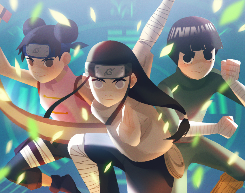 1girl 2boys absurdres alex_cho bandage bandaged_arm black_eyes black_hair bodysuit bowl_cut brown_eyes eyelashes fighting_stance forehead_protector highres huge_filesize hyuuga_neji lavender_eyes looking_at_viewer multiple_boys naruto rock_lee scroll sleeveless smile tenten thick_eyebrows