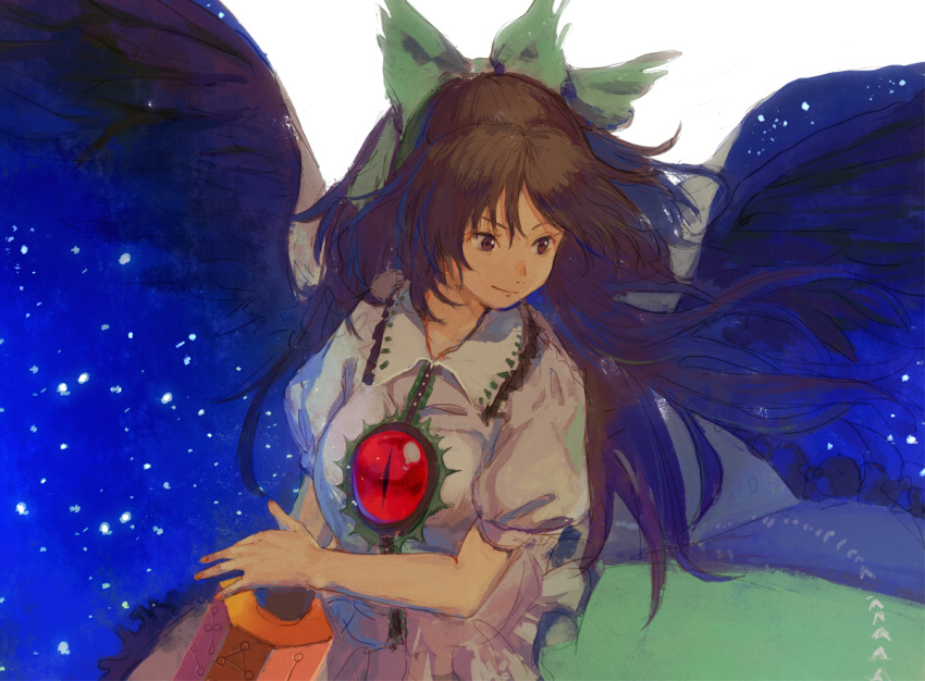 1girl alternate_eye_color arm_cannon bangs black_wings bow breasts brown_eyes brown_hair cape collared_shirt feathered_wings frilled_shirt frilled_shirt_collar frills green_skirt hair_bow kagari_(kgr_000) long_hair long_skirt looking_down looking_to_the_side puffy_sleeves red_eyes reiuji_utsuho shirt short_sleeves skirt solo space third_eye touhou weapon white_shirt wings