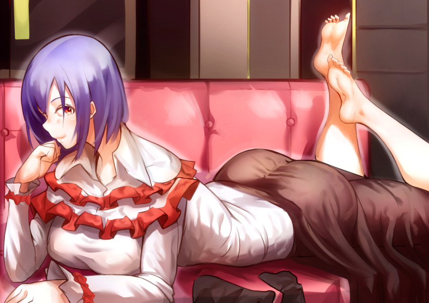 1girl ankles ass ayakumo bangs barefoot black_legwear blush brown_skirt capelet collared_shirt couch frills hand_up indoors legs_up legwear_removed long_skirt long_sleeves looking_at_viewer lying nagae_iku on_couch on_stomach open_collar purple_hair red_eyes shiny shiny_clothes shiny_hair shiny_skin shirt short_hair sidelocks skirt smile soles solo swept_bangs taut_clothes taut_shirt taut_skirt toes touhou white_shirt