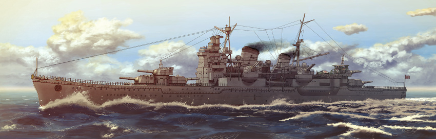cannon clouds cruiser day earasensha flag heavy_cruiser highres imperial_japanese_navy military military_vehicle myoukou_(cruiser) no_humans ocean outdoors real_life ship sky smokestack sunburst turret warship watercraft waves world_war_ii
