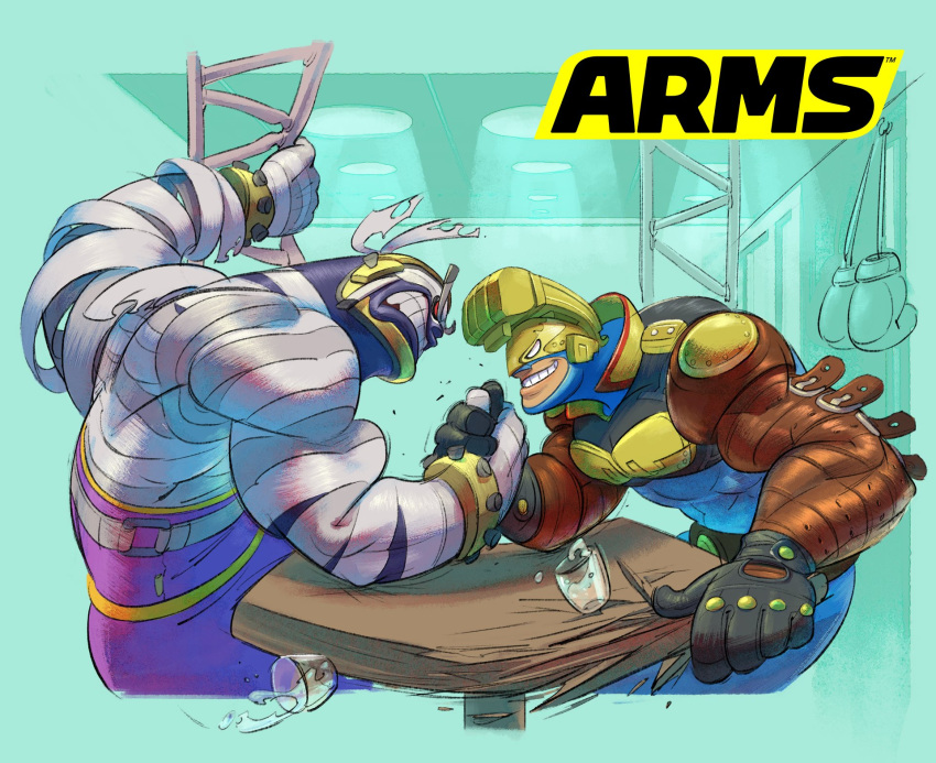 2boys aqua_background arm_wrestling arms_(game) biceps black_gloves bodysuit boxing_gloves clenched_teeth gloves grin helmet highres ishikawa_masaaki logo master_mummy_(arms) max_brass monster_boy multiple_boys mummy nintendo no_pupils official_art simple_background smile table teeth wrestling_outfit