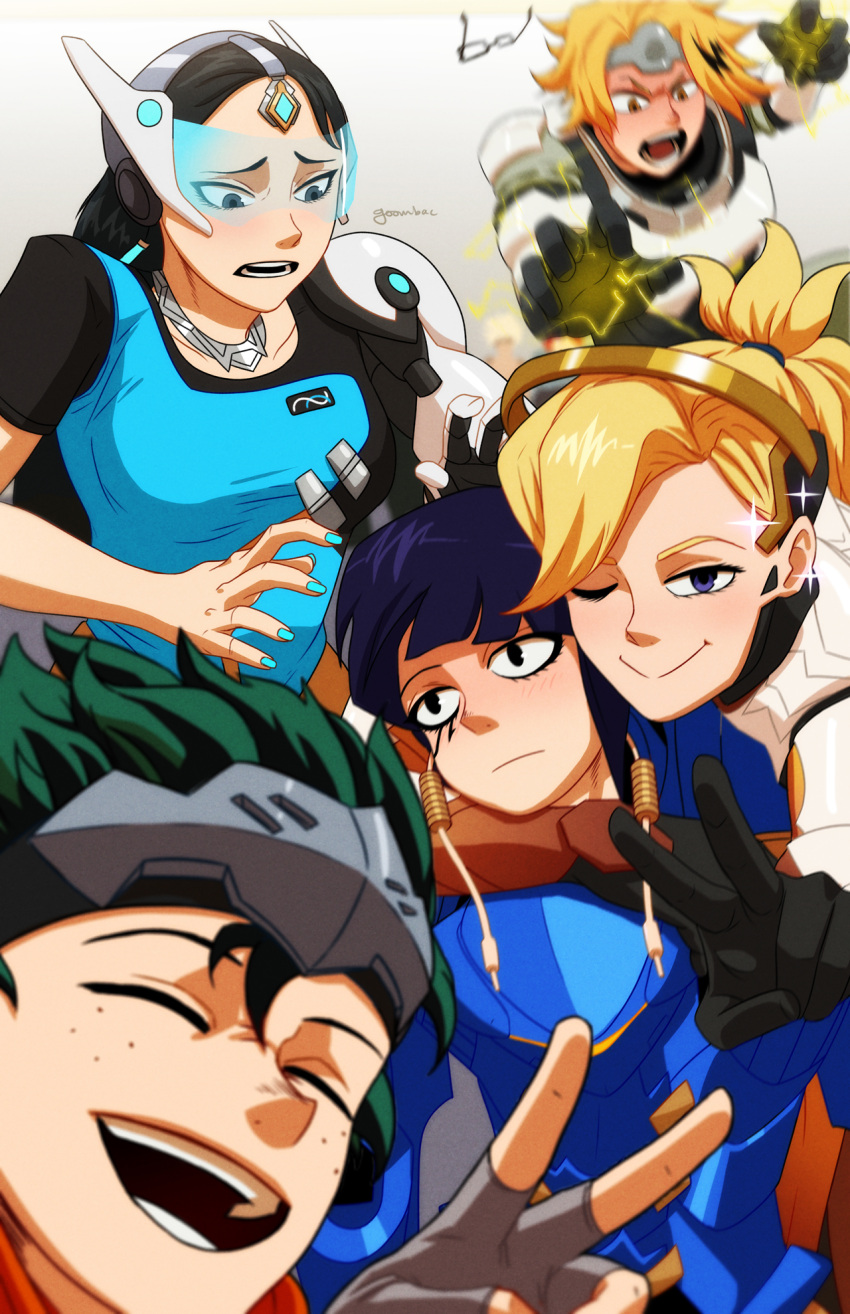2girls 3boys :> :d :| aoyama_yuuga arm_over_shoulder armor artist_name black_hair blonde_hair blue_dress blue_eyes blue_hair blue_nails blurry blush bodysuit boku_no_hero_academia brown_eyes closed_eyes closed_mouth commentary cosplay depth_of_field dress eye_of_horus facial_mark facial_tattoo genji_(overwatch) genji_(overwatch)_(cosplay) glasses goombac green_hair grey_eyes high_ponytail highres jack_plug jirou_kyouka kaminari_denki long_hair looking_at_viewer looking_back mechanical_arm mechanical_halo mercy_(overwatch) mercy_(overwatch)_(cosplay) midoriya_izuku multicolored_hair multiple_boys multiple_girls nail_polish one_eye_closed open_mouth overwatch pharah_(overwatch) pharah_(overwatch)_(cosplay) power_armor self_shot short_hair simple_background smile sparkle sparks symmetra_(overwatch) symmetra_(overwatch)_(cosplay) tattoo teeth v visor winston_(overwatch) winston_(overwatch)_(cosplay) yaoyorozu_momo