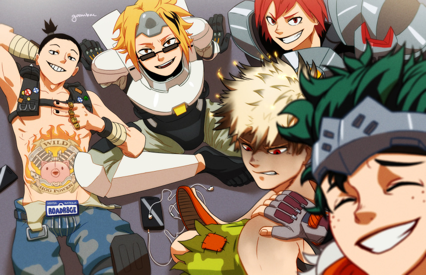 5boys :d angry artist_name badge bakugou_katsuki bespectacled black_hair black_nails blonde_hair blurry bodysuit boku_no_hero_academia cellphone commentary cosplay depth_of_field earphones earphones fingerless_gloves freckles from_above genji_(overwatch) genji_(overwatch)_(cosplay) glasses gloves goombac green_shorts grin hand_on_shoulder headband highres jewelry junkrat_(overwatch) junkrat_(overwatch)_(cosplay) kaminari_denki kirishima_eijirou license_plate looking_down looking_up male_focus messy_hair midoriya_izuku multicolored_hair multiple_boys nail_polish open_mouth overwatch phone pins power_armor red_eyes redhead reinhardt_(overwatch) reinhardt_(overwatch)_(cosplay) roadhog_(overwatch) roadhog_(overwatch)_(cosplay) self_shot sero_hanta shorts sitting smartphone smile spiky_hair sunglasses tattoo teeth torn_clothes winston_(overwatch) winston_(overwatch)_(cosplay)