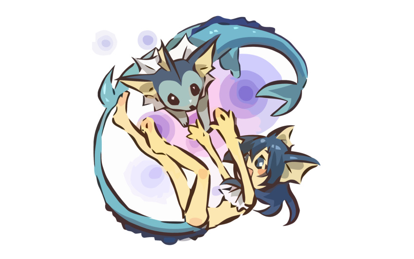 absurdres androgynous animal_ears black_eyes blue_eyes blue_hair hitec long_hair moemon open_mouth personification pokemon simple_background smile tail vaporeon