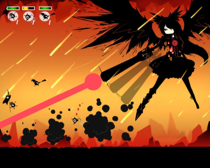 auer battle fake_screenshot hakurei_reimu kirisame_marisa laser parody patapon reiuji_utsuho style_parody touhou