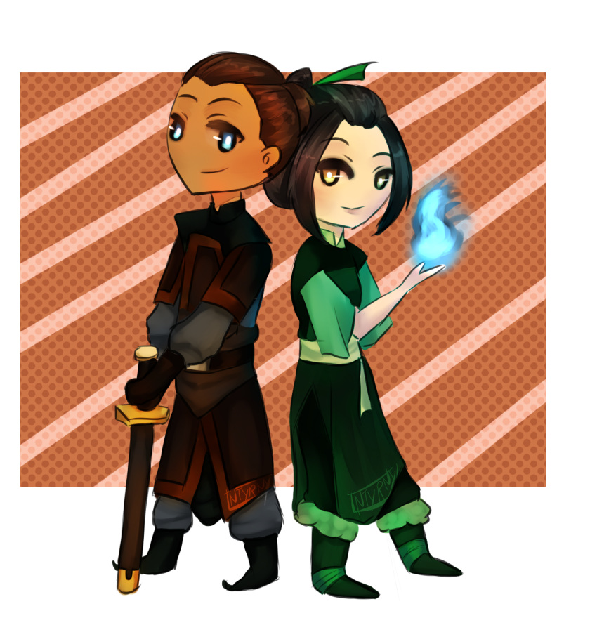 avatar:_the_last_airbender avatar_(series) azula blue_fire chibi china_dress chinese_clothes dress fire highres sokka tagme weapon