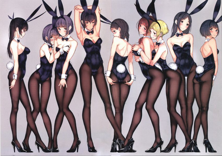 6+girls :3 animal_ears armpits ass bangs bare_shoulders black_bow black_bowtie black_hair blue_leotard blush bow bowtie braid breasts brown_hair bunny_tail bunnysuit closed_mouth covering covering_breasts covering_crotch covering_face detached_collar dress earrings embarrassed expressionless eyebrows_visible_through_hair fake_animal_ears fishnet_pantyhose fishnets full_body grey_background groping hair_ornament hair_over_shoulder hairband hairclip high_heels highres jewelry large_breasts leotard long_hair long_legs looking_at_another looking_down medium_breasts mole mole_under_eye multiple_girls open-back_dress original pantyhose parted_bangs parted_lips purple_hair short_hair simple_background smile spread_ass standing stretch tail tsukino_wagamo twin_braids wrist_cuffs