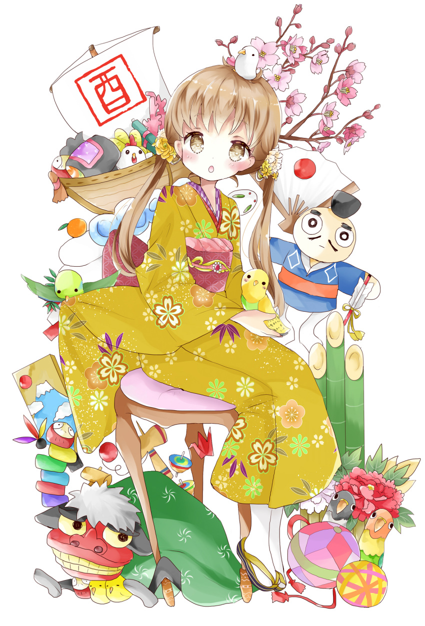 1girl :o animal animal_on_head arrow ball bamboo bird bird_on_head blush branch brown_eyes canary chicken commentary_request dove eyebrows_visible_through_hair fan floral_print flower hagoita hair_flower hair_ornament hamaya highres holding holding_animal japanese_clothes japanese_flag kagami_mochi kendama kimono light_brown_hair long_hair long_sleeves looking_at_viewer looking_to_the_side low_twintails mallet obi on_head open_mouth origami original paddle paper_crane paper_fan print_kimono sash scroll sitting snow_bunny socks solo spinning_top stool tabi tsukiyo_(skymint) twintails unmoving_pattern white_legwear wide_sleeves yellow_kimono