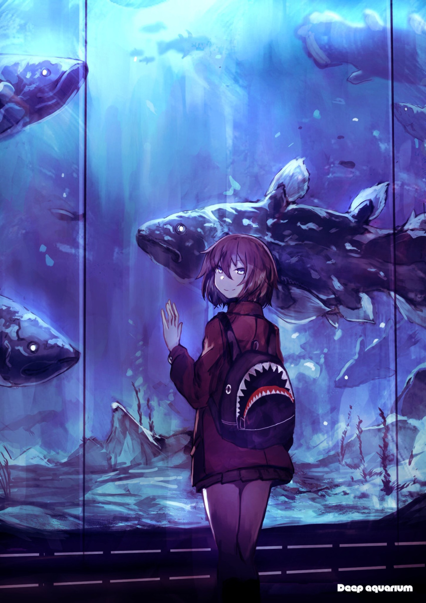 1girl against_glass aquarium backpack bag fish glass highres jacket looking_at_viewer looking_back original pleated_skirt redhead sanshouuo short_hair skirt smile solo teeth water