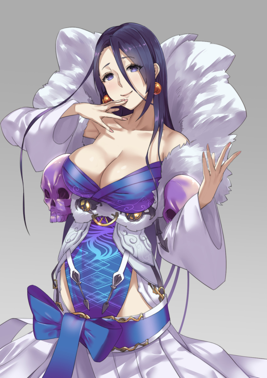 1girl bare_shoulders black_hair blue_eyes blush breasts cleavage closed_mouth collarbone cowboy_shot dress earrings hair_between_eyes highres japanese_clothes jewelry kaguya_hime_(sinoalice) kimono large_breasts long_sleeves looking_at_viewer off-shoulder_dress off_shoulder sinoalice skull smile solo white_dress wide_sleeves worldless