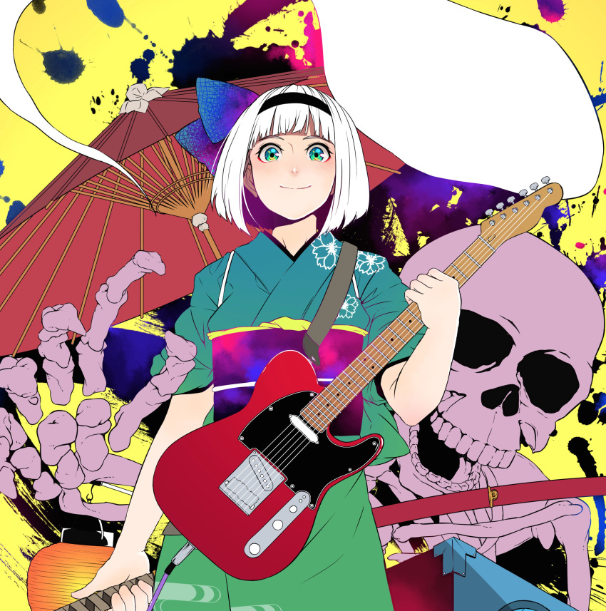 1girl absurdres alternate_costume arm_at_side bangs black_hairband blunt_bangs bob_cut bow cable closed_mouth electric_guitar floral_print ghost gradient gradient_bow green_eyes green_kimono guitar hair_bow hairband hand_up highres hitodama holding holding_instrument holding_sword holding_weapon instrument japanese_clothes katana kimono kobaji konpaku_youmu konpaku_youmu_(ghost) lantern looking_at_viewer obi oriental_umbrella paper_lantern sash scabbard sheath sheathed short_hair short_sleeves skeleton skull sleeves_rolled_up smile solo sword touhou umbrella weapon weapon_on_back white_hair