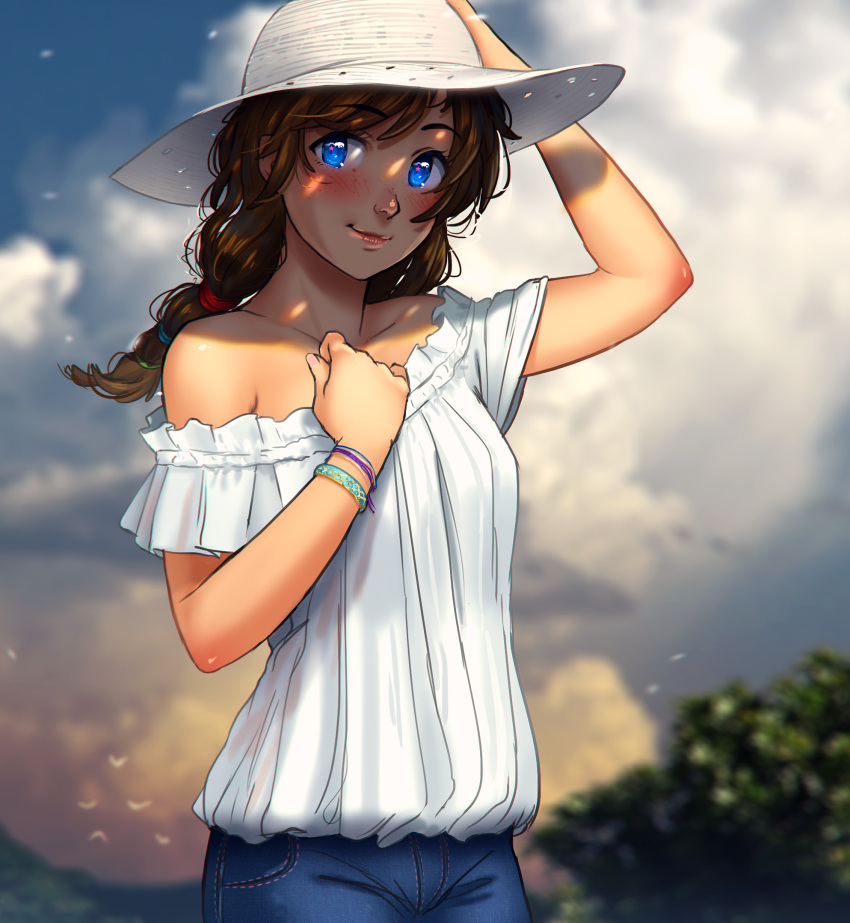 1girl alternate_hairstyle bare_shoulders blue_eyes blush bracelet breasts brooke_(mathias_leth) brown_hair commentary denim eyebrows_visible_through_hair freckles hat highres jeans jewelry lips long_hair low_twintails mathias_leth original pants sleeveless small_breasts smile solo sun_hat twintails upper_body