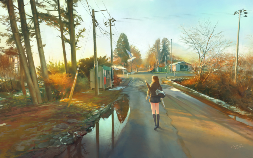 1girl bag bird black_legwear brown_hair bus_stop evening from_behind highres long_hair original outdoors power_lines profile puddle reflection road scenery shoulder_bag signature solo standing telephone_pole tree vanishing_point walking wayne_chan