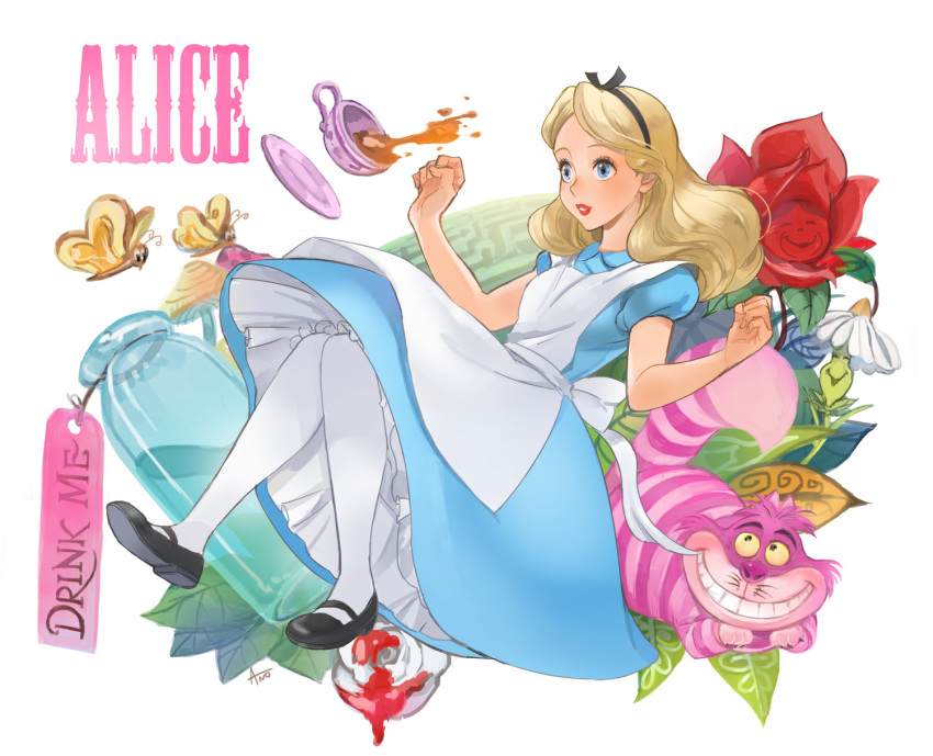 1girl alice_(wonderland) alice_in_wonderland alice_liddell animal ano_(sbee) apron artist_name blonde_hair blue_dress blue_eyes bottle butterfly cat character_name cup disney dress flower hair_ornament hair_ribbon highres leaf long_hair looking_away mushroom paint plant ribbon rose saucer shoes simple_background solo_focus tag tea teacup thigh-highs white_background