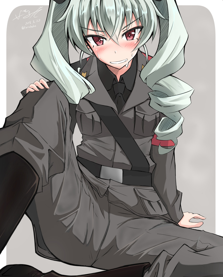 1girl absurdres anchovy anzio_military_uniform arm_support artist_name bangs belt black_boots black_ribbon black_shirt blurry boots commentary_request dated depth_of_field drill_hair eyebrows_visible_through_hair eyes_visible_through_hair girls_und_panzer green_hair grey_background grey_jacket grey_pants grin hair_ribbon hand_on_own_knee highres isofude knee_boots long_hair looking_at_viewer military military_uniform outside_border pants red_eyes ribbon rounded_corners sam_browne_belt shirt signature sitting smile solo sweat twin_drills twintails twitter_username uniform