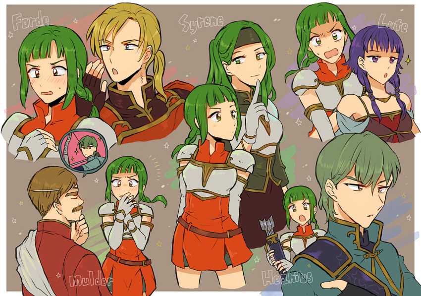 3boys 3girls armor arrow bare_shoulders blonde_hair blouse blush bracer breastplate breasts brown_hair capelet character_name closed_eyes dress elbow_gloves facial_hair fingerless_gloves fire_emblem fire_emblem:_seima_no_kouseki flat_chest forde gloves green_eyes green_hair hand_on_own_chest hand_to_own_mouth headband index_finger_raised innes long_hair lute_(fire_emblem) moulder multiple_boys multiple_girls multiple_views mustache noshima open_mouth ponytail purple_hair quiver robe short_hair siblings sidelocks sisters sleeveless sleeveless_dress small_breasts sparkle spoken_person sweatdrop syrene vanessa_(fire_emblem) violet_eyes wavy_mouth white_gloves