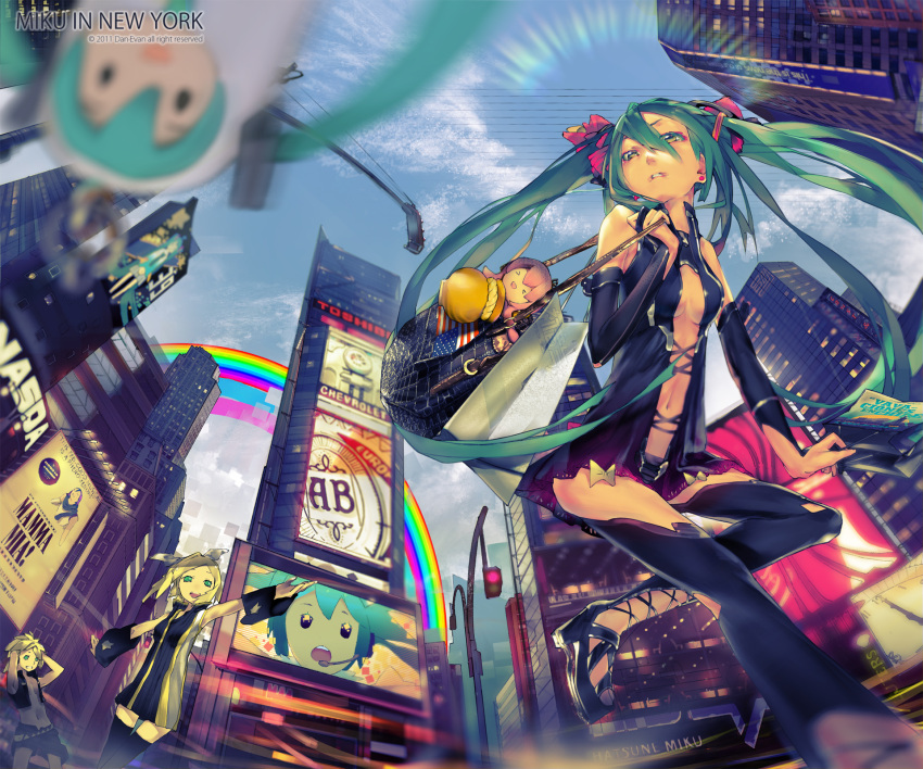 >_< +_+ 1boy 2girls america american_flag aqua_hair bag black_skirt blonde_hair bow building city cityscape closed_eyes clouds day el-zheng handbag hatsune_miku highres kagamine_len kagamine_rin landmark long_hair megurine_luka miniskirt multiple_girls new_york pleated_skirt rainbow real_world_location revision shirtless shorts skirt skyscraper takoluka thigh-highs times_square twintails vest vocaloid