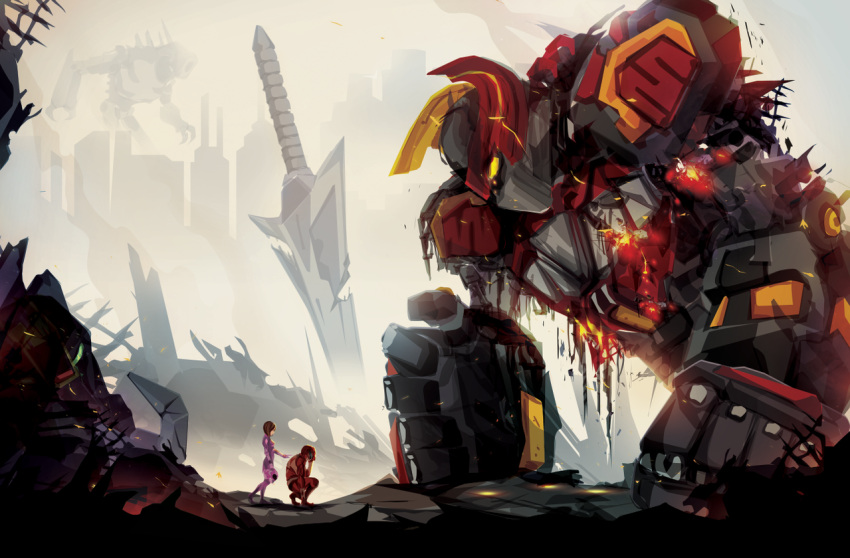 1boy 1girl broken cityscape commentary justin_currie_(chasingartwork) mecha megazord planted_sword planted_weapon power_rangers ruins size_difference super_sentai sword weapon