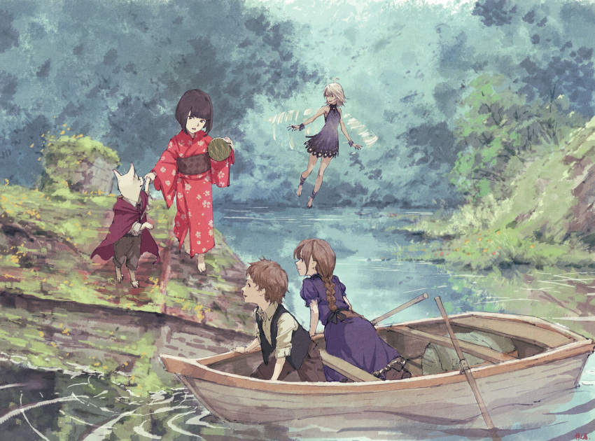 2boys ahoge arm_support barefoot black_eyes black_hair boat bracelet braid cape cat chimney dress fairy fantasy flying hand_holding highres japanese_clothes jewelry kimono leaning_forward long_hair multiple_boys oar obi original outdoors overgrown puffy_short_sleeves puffy_sleeves ripples rooftop sash short_hair short_sleeves signature single_braid sleeveless sleeveless_dress smile texture traditional_media vest water watercraft white_hair wings zennosuke
