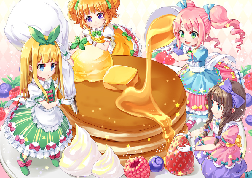 4girls :> :d apron argyle argyle_background blonde_hair blue_dress blue_eyes blue_ribbon blueberry braid brown_hair butter coconat_summer dress food frown fruit gloves gradient gradient_background green_dress green_eyes green_ribbon hair_ribbon ice_cream layered_dress light_particles long_hair looking_at_viewer looking_down minigirl multiple_girls open_mouth orange_dress orange_hair original pastry_bag pink_background pink_dress pink_hair profile raspberry ribbon short_hair smile star strawberry syrup twin_braids two_side_up waist_apron whipped_cream white_gloves