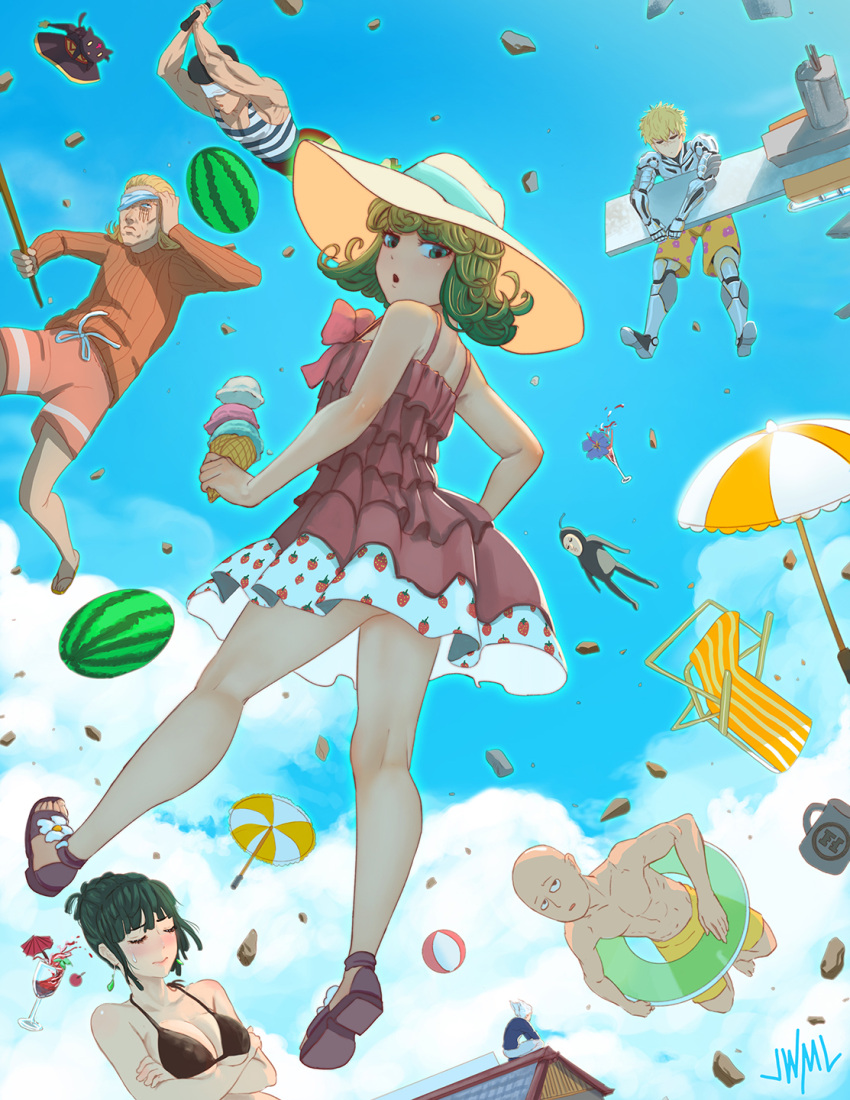 2girls 3boys bald beach_chair beach_umbrella blonde_hair blush breasts chair character_request cleavage closed_eyes facing_viewer food fruit genos green_eyes green_hair hat highres ice_cream ice_cream_cone justin_leyva_(steamy_tomato) kinzoku_bat large_breasts looking_at_viewer multiple_boys multiple_girls one-punch_man parted_lips saitama_(one-punch_man) short_hair sun_hat tatsumaki umbrella watermelon
