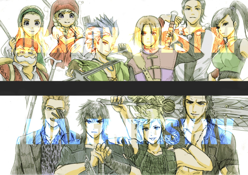 3girls 6+boys adjusting_glasses black_hair black_jacket blonde_hair blue_hair brown_hair camus_(dq11) company_connection copyright_name dragon_quest dragon_quest_xi facial_hair final_fantasy final_fantasy_xv fingerless_gloves freckles gladiolus_amicitia glasses gloves gun handgun hat hero_(dq11) highres ignis_scientia jacket jewelry kloves_ny martina_(dq11) multiple_boys multiple_girls mustache necklace noctis_lucis_caelum old_man open_collar over_shoulder polearm ponytail prompto_argentum row_(dq11) scar senya_(dq11) spear spiky_hair square_enix sword sylvia_(dq11) veronica_(dq11) weapon weapon_on_back weapon_over_shoulder