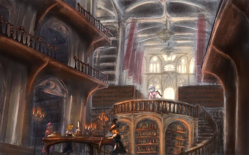 4girls alice_margatroid banner bat_wings black_skirt black_vest blonde_hair blouse blue_dress bookshelf candle candlestand capelet ceiling chandelier day dress faux_traditional_media flying_buttress from_side hat highres indoors kirisame_marisa lfacras library long_hair mob_cap multiple_girls patchouli_knowledge pink_blouse puffy_short_sleeves puffy_sleeves purple_hair railing remilia_scarlet robe short_hair short_sleeves skirt skirt_set stairs standing table touhou vest voile window wings witch_hat