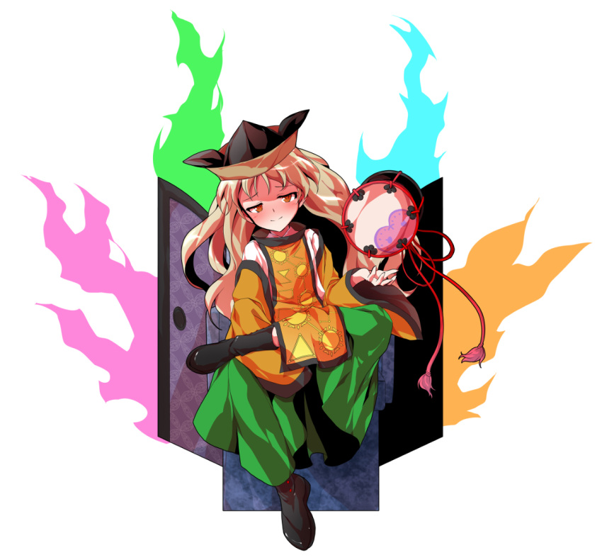 1girl alphes_(style) artist_request aura black_boots black_hat blonde_hair blush boots brown_hat chair collared_shirt constellation_print detached_sleeves door drum floating_object green_skirt hat instrument legs_crossed long_hair long_sleeves matara_okina multicolored multicolored_clothes multicolored_hat parody shirt simple_background sitting skirt smile solo_focus style_parody tabard touhou white_background white_shirt wide_sleeves yellow_eyes