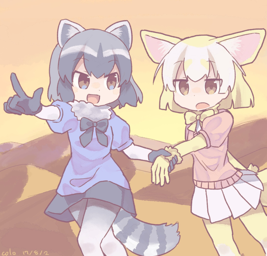 2girls :d :o animal_ears artist_name black_bow black_bowtie black_gloves black_hair blonde_hair blue_shirt bow bowtie brown_eyes colo_(frypan_soul) common_raccoon_(kemono_friends) dated evening eyebrows_visible_through_hair fennec_(kemono_friends) fox_ears fox_tail fur_collar gloves grey_hair highres holding_hand kemono_friends looking_at_another miniskirt mountain multiple_girls open_mouth outdoors pantyhose pink_sweater pleated_skirt pointing raccoon_ears raccoon_tail shirt short_hair short_sleeves skirt sky smile sweater tail white_legwear white_skirt yellow_bow yellow_bowtie yellow_gloves yellow_legwear