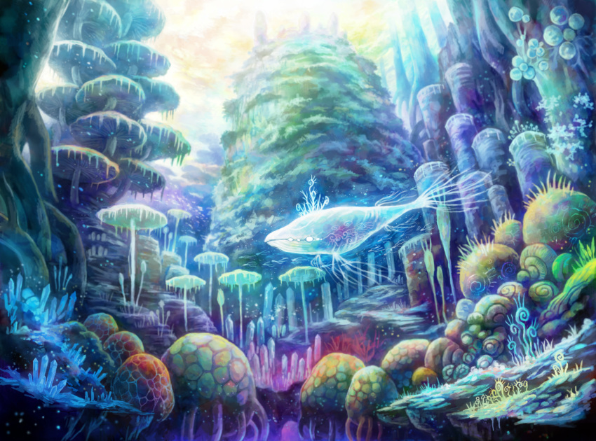 commentary_request coral coral_reef crystal day fantasy fish highres kemi_neko no_humans original outdoors plant scenery underwater whale