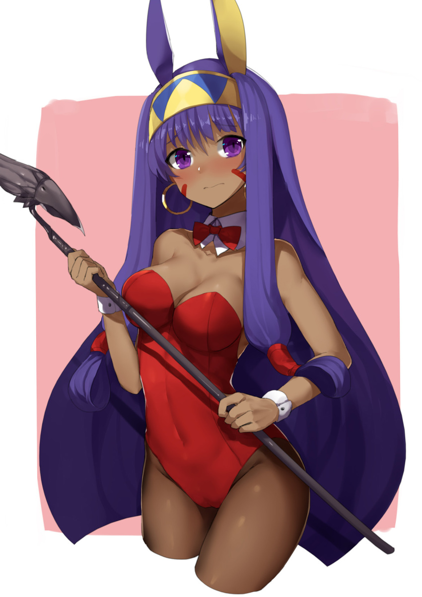 1girl bangs bare_shoulders black_legwear blush breasts bunnysuit cleavage closed_mouth covered_navel cropped_legs dark_skin egyptian eyebrows_visible_through_hair facepaint fate/grand_order fate_(series) hair_between_eyes hairband hand_up highres holding holding_staff leotard long_hair looking_at_viewer medium_breasts nitocris_(fate/grand_order) nose_blush pantyhose purple_hair red_leotard sh_(562835932) solo staff thighs very_long_hair wrist_cuffs