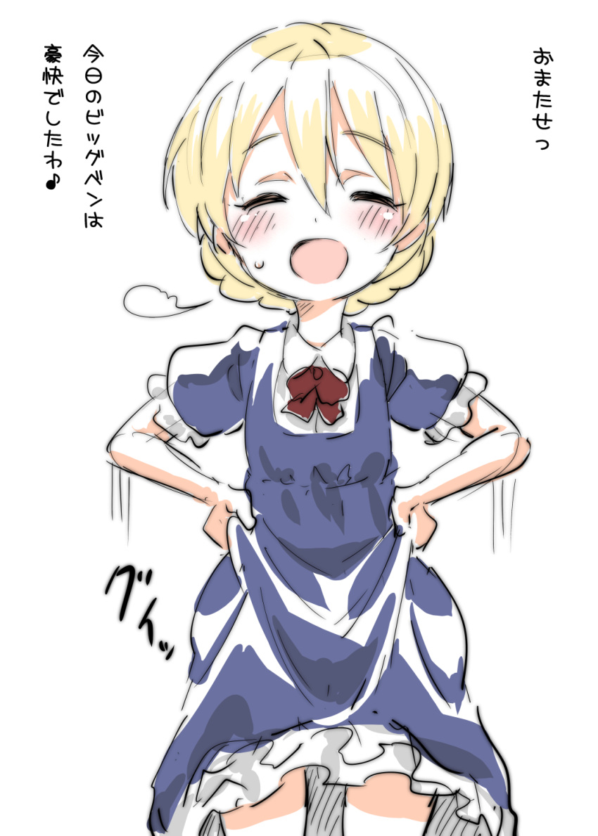 1girl bangs blonde_hair blue_dress blush bow braid collared_dress commentary_request cowboy_shot darjeeling dress eyebrows_visible_through_hair facing_viewer frilled_dress frills girls_und_panzer highres medium_dress miyao_ryuu open_mouth puffy_short_sleeves puffy_sleeves red_bow short_hair short_sleeves sigh skirt_hold smile solo standing sweatdrop tied_hair translated twin_braids younger