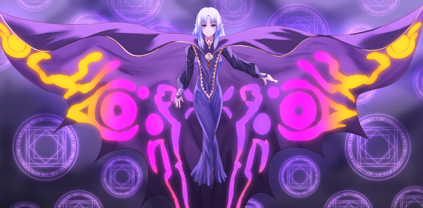 1girl absurdres blue_eyes blush caster character_request cloak closed_mouth eyebrows fate/stay_night fate_(series) floating highres long_hair looking_at_viewer magic_circle purple_robe silver_hair solo yagyun