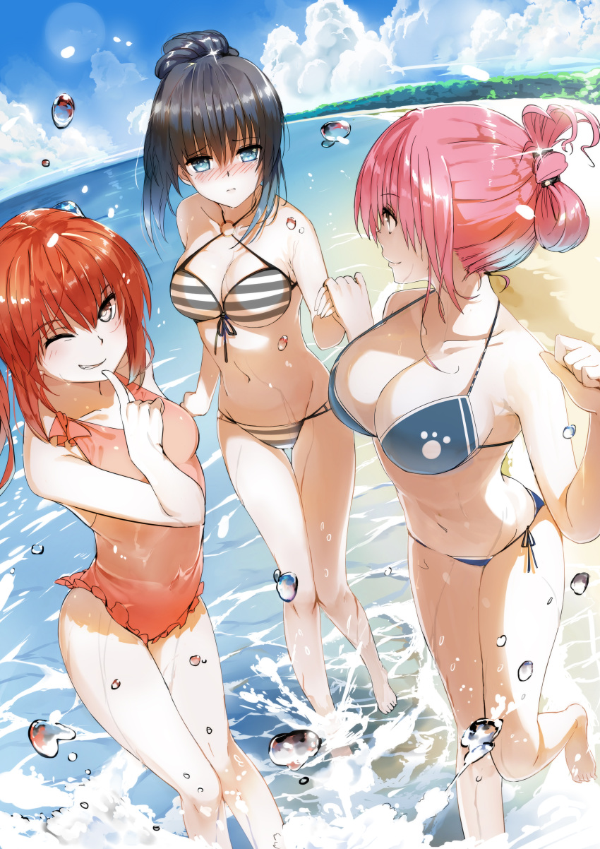 3: 3girls absurdres barefoot beach bikini black_hair blue_bikini blue_eyes blush breasts brown_eyes clenched_hand closed_mouth clouds collarbone covered_navel day eyebrows_visible_through_hair finger_to_mouth folded_ponytail frilled_swimsuit frills grin hair_between_eyes hair_bun halterneck hand_holding highres large_breasts leg_up lens_flare multiple_girls navel nose_blush o-ring_top one_eye_closed orange_hair orange_swimsuit original outdoors paw_print pink_hair profile side-tie_bikini sky smile sparkle striped striped_bikini swimsuit tameiki thigh_gap twintails water water_drop wet