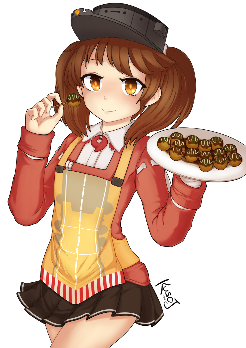 1girl absurdres apron artist_name bare_legs brown_eyes brown_hair eyebrows food highres holding holding_food holding_plate jacy japanese_clothes kantai_collection kariginu long_sleeves looking_at_viewer magatama plate pleated_skirt ryuujou_(kantai_collection) skirt smile solo takoyaki toothpick twintails visor_cap