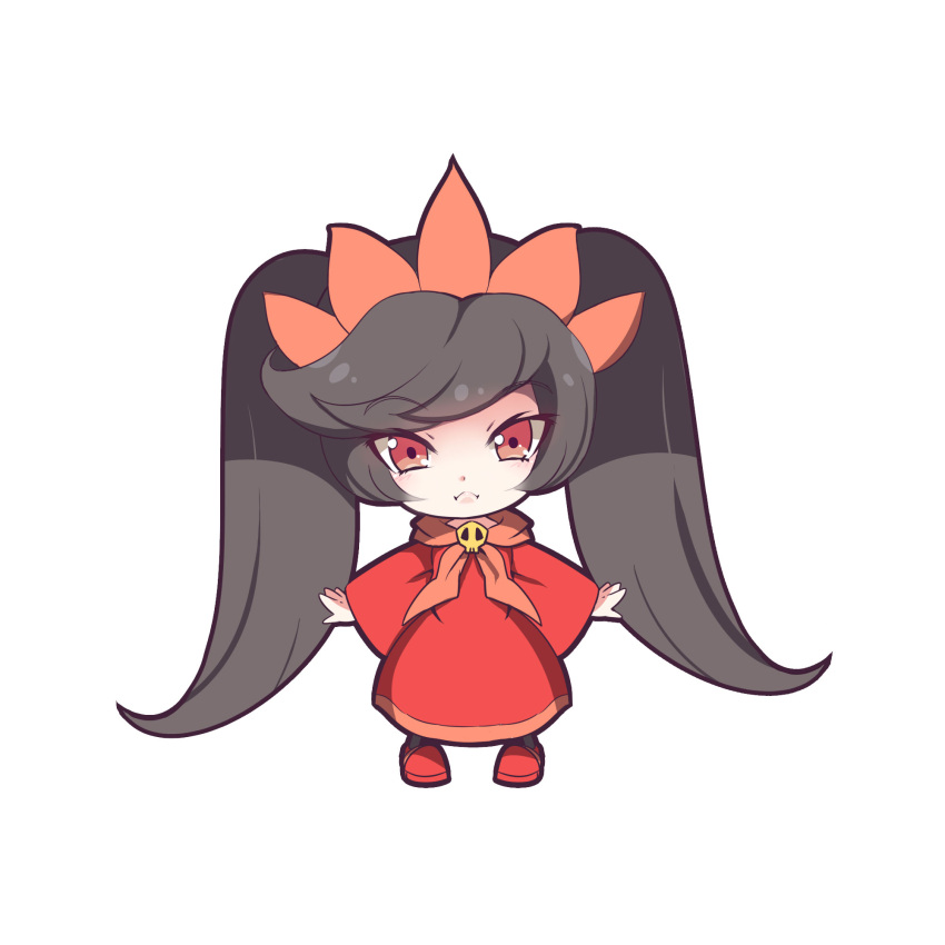 1girl :< ashley_(warioware) bangs big_hair black_hair black_legwear closed_mouth commentary_request dress eyebrows_visible_through_hair hairband highres long_hair looking_at_viewer nenko orange_hairband pantyhose red_dress red_eyes red_shoes shoes simple_background skull sleeves_past_wrists solo tsurime twintails very_long_hair warioware white_background wide_sleeves