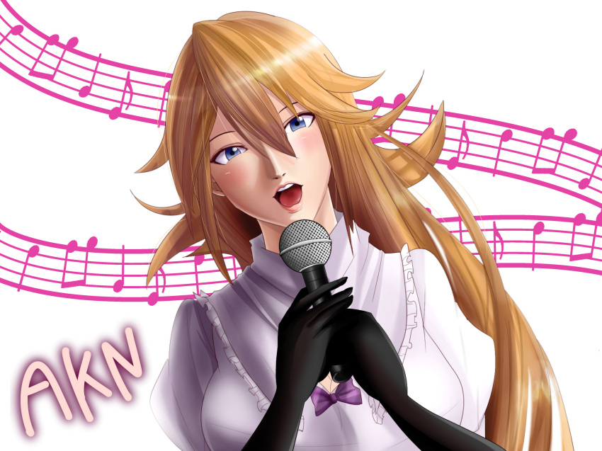 1girl akane_(cookie) black_gloves blonde_hair blue_eyes blush breasts character_name cleavage cookie_(touhou) elbow_gloves eyebrows gloves highres holding holding_microphone kirisame_marisa large_breasts looking_at_viewer microphone music musical_note open_mouth sakamochi singing smile solo staff_(music) touhou upper_body
