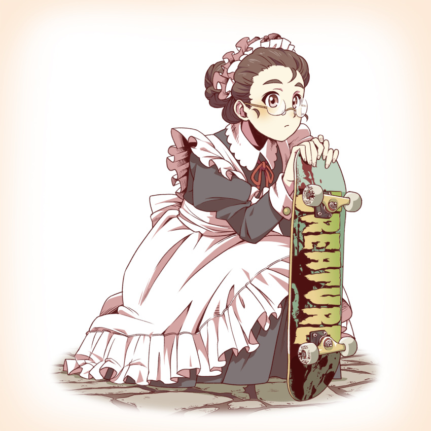 1girl apron blush brown_eyes brown_hair cobblestone glasses hair_up highres looking_afar maid maid_apron maid_headdress original rimless_glasses scratches sepia_background simple_background skateboard sleeve_cuffs solo squatting suzushiro_(suzushiro333) thick_eyebrows