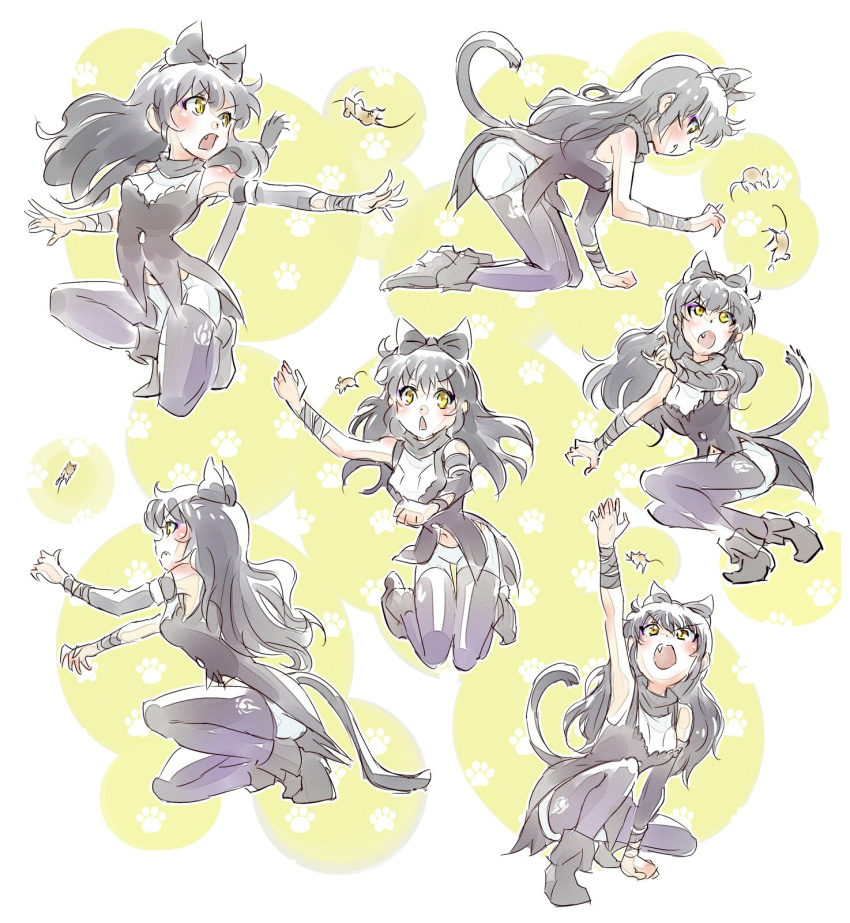 1girl black_hair blake_belladonna bow cat_tail fang hair_bow highres iesupa mouse paw_pose rwby tail yellow_eyes