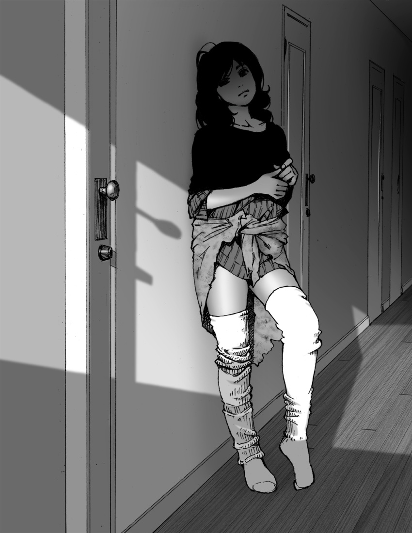 1girl collarbone contrapposto door full_body greyscale highres indoors leaning_back long_hair monochrome solo suzushiro_(suzushiro333) thigh-highs