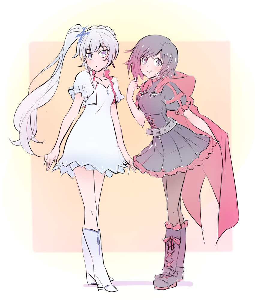 2girls absurdres belt black_dress cape dress highres iesupa jacket long_hair multiple_girls parody ponytail redhead ruby_rose rwby very_long_hair weiss_schnee white_dress white_hair