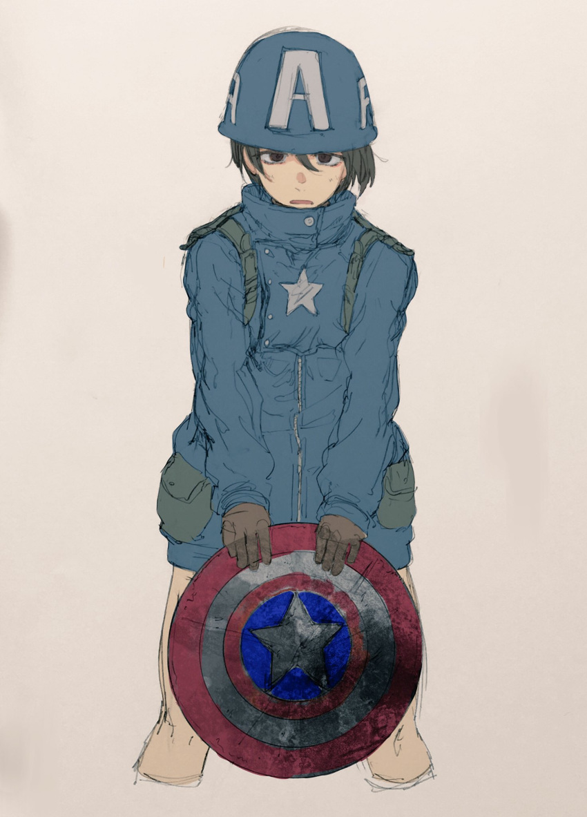 1girl captain_america cosplay highres kotoyama marvel no_pants shield short_hair solo
