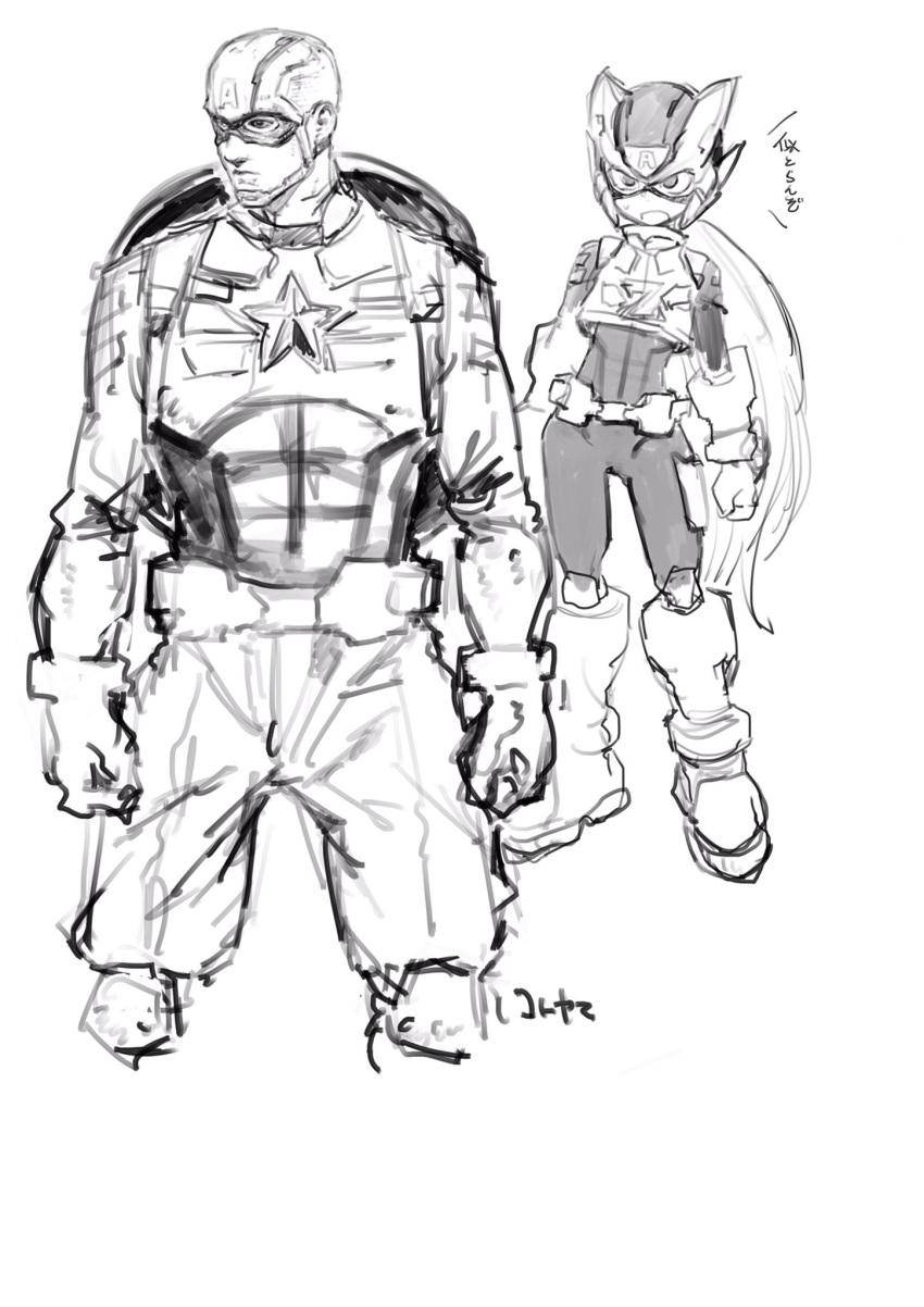 android armor captain_america cosplay gloves greyscale helmet highres kotoyama long_hair marvel_vs._capcom monochrome robot rockman rockman_x rockman_zero shield star very_long_hair zero_(rockman)